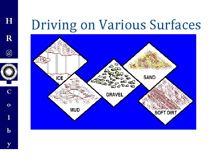 H R @ C o l b y Driving on Various Surfaces