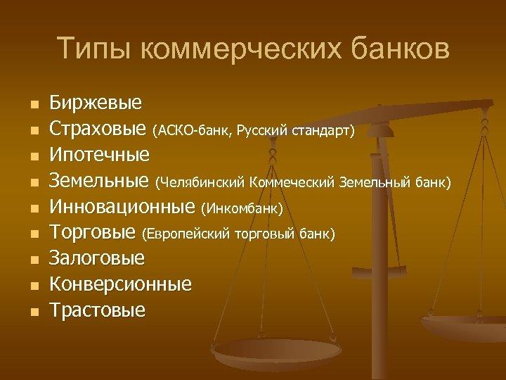 Типы коммерческих банков n n n n n Биржевые Страховые (АСКО-банк, Русский стандарт) Ипотечные