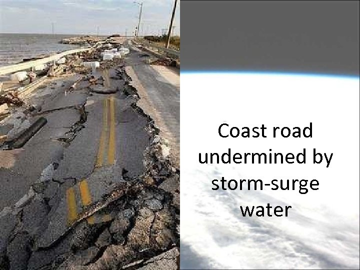 Coast road undermined by storm-surge water