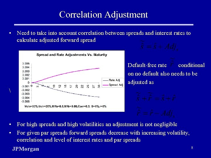 Correlation Adjustment • Need to take into account correlation between spreads and interest rates