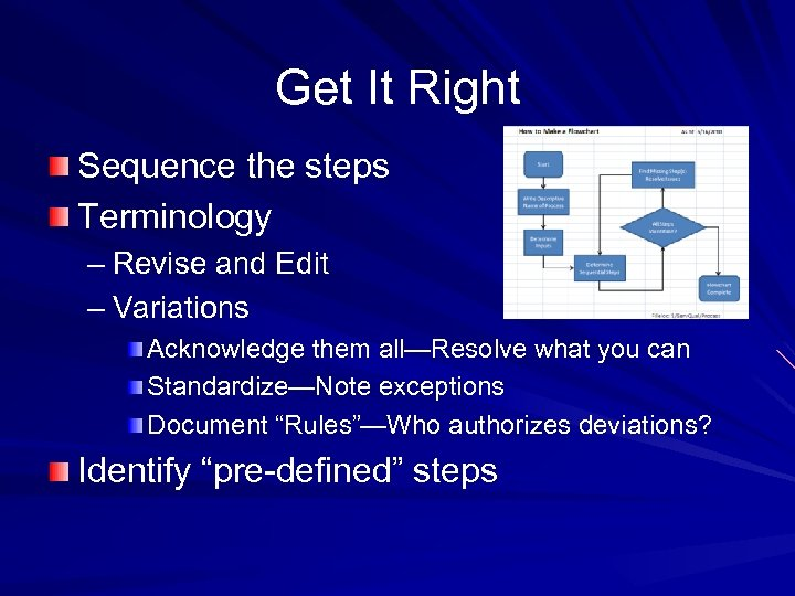 Get It Right Sequence the steps Terminology – Revise and Edit – Variations Acknowledge