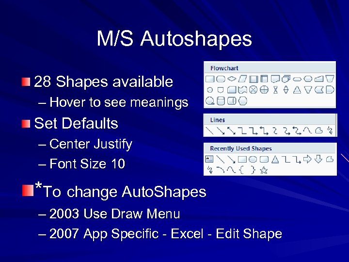 M/S Autoshapes 28 Shapes available – Hover to see meanings Set Defaults – Center