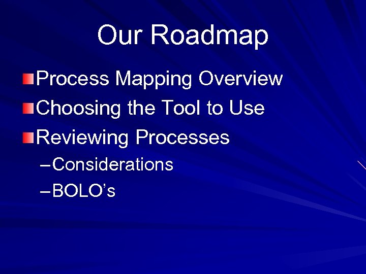 Our Roadmap Process Mapping Overview Choosing the Tool to Use Reviewing Processes – Considerations