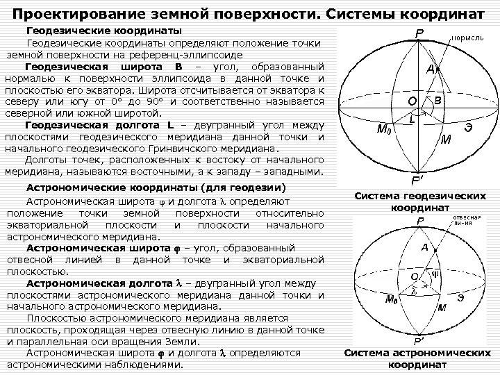 Проектирование земной поверхности. Системы координат Геодезические координаты определяют положение точки земной поверхности на референц-эллипсоиде