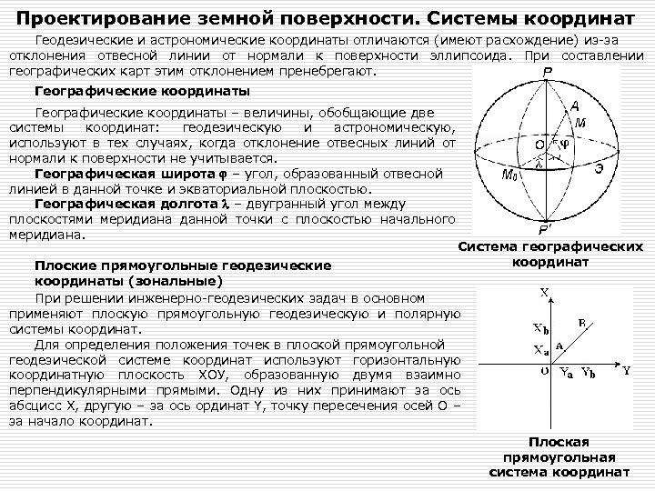 Проектирование земной поверхности. Системы координат Геодезические и астрономические координаты отличаются (имеют расхождение) из-за отклонения