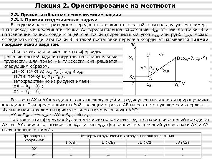 Лекция 2. Ориентирование на местности 2. 3. Прямая и обратная геодезические задачи 2. 3.