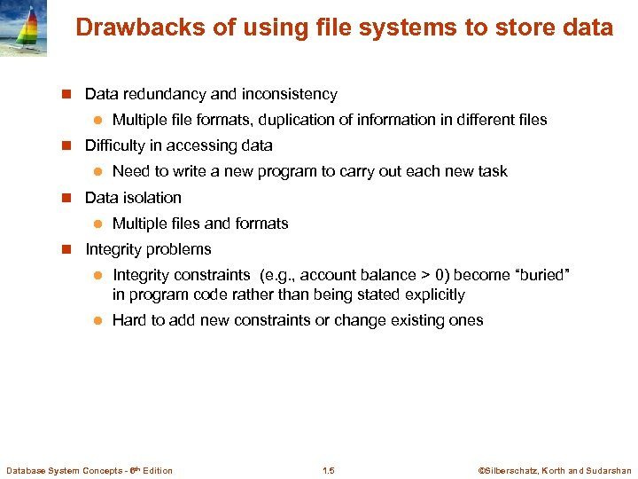 Drawbacks of using file systems to store data n Data redundancy and inconsistency l