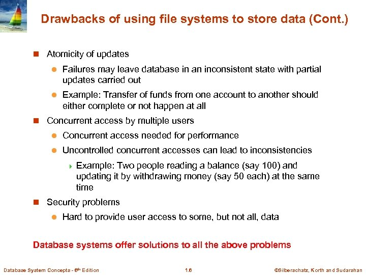 Drawbacks of using file systems to store data (Cont. ) n Atomicity of updates
