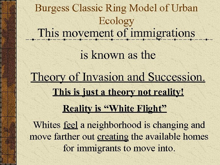 Burgess Classic Ring Model of Urban Ecology This movement of immigrations is known as