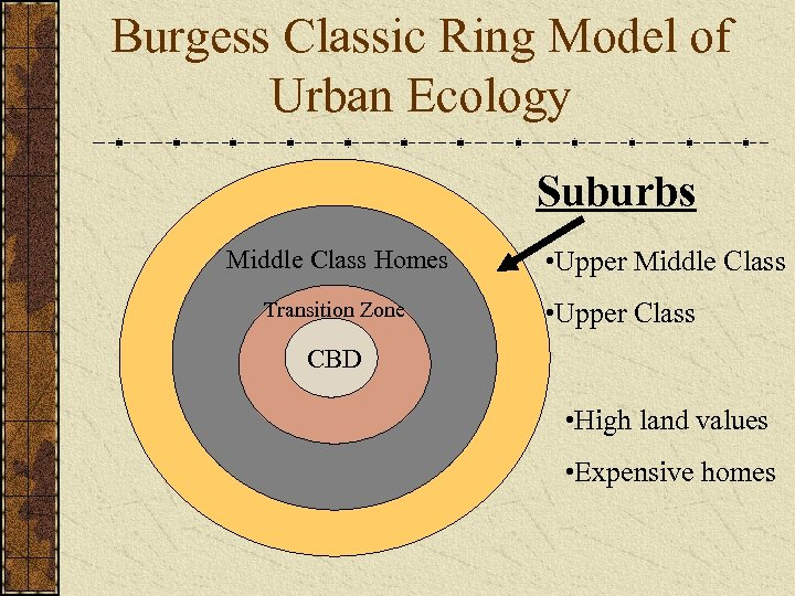 Burgess Classic Ring Model of Urban Ecology Suburbs Middle Class Homes Transition Zone •