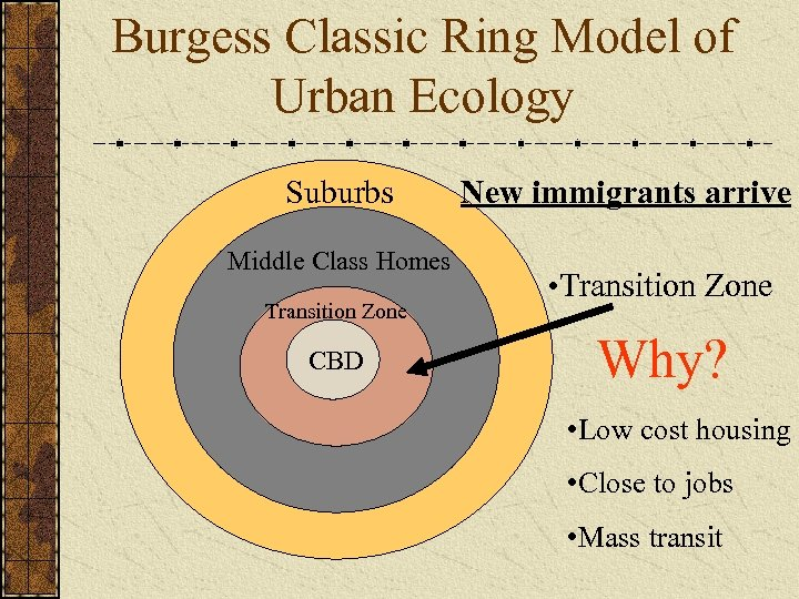 Burgess Classic Ring Model of Urban Ecology Suburbs Middle Class Homes Transition Zone CBD