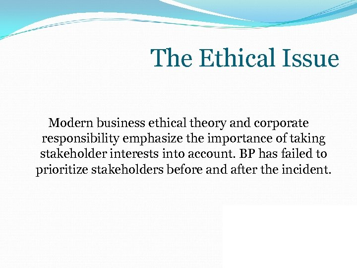 The Ethical Issue Modern business ethical theory and corporate responsibility emphasize the importance of
