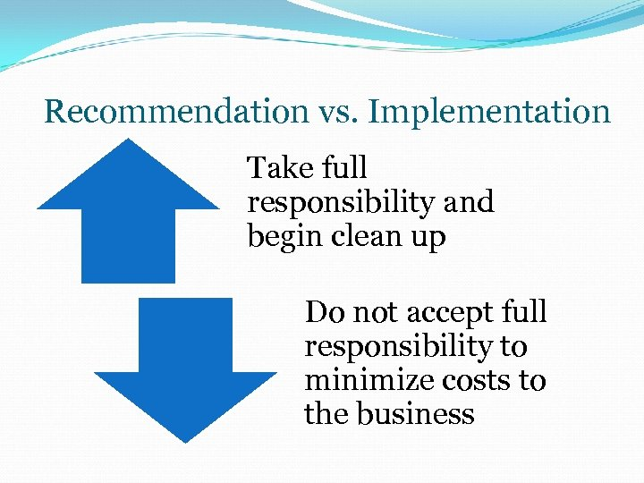 Recommendation vs. Implementation Take full responsibility and begin clean up Do not accept full