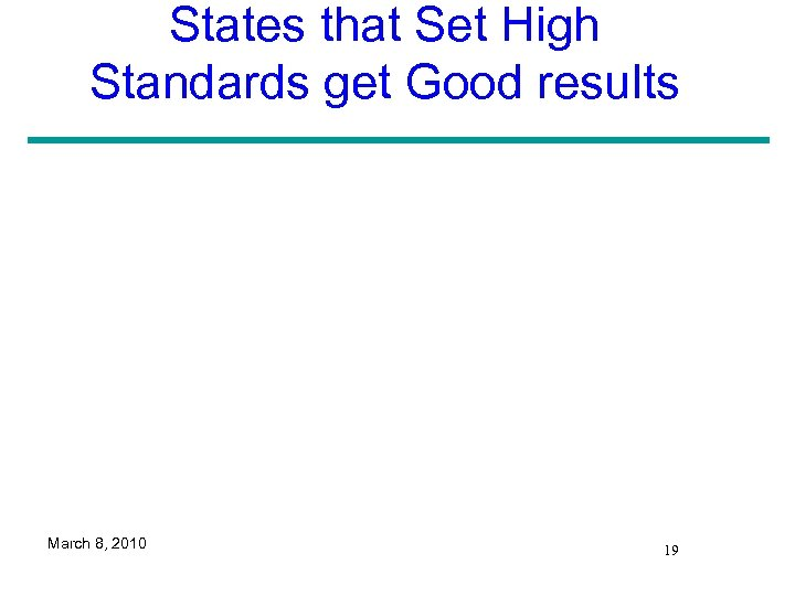 States that Set High Standards get Good results March 8, 2010 19