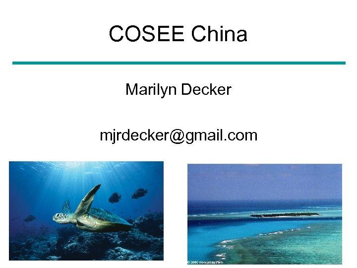COSEE China Marilyn Decker mjrdecker@gmail. com March 8, 2010 24