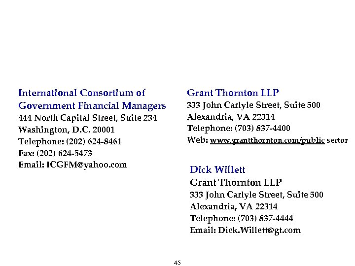 To Contact Us International Consortium of Government Financial Managers Grant Thornton LLP 333 John