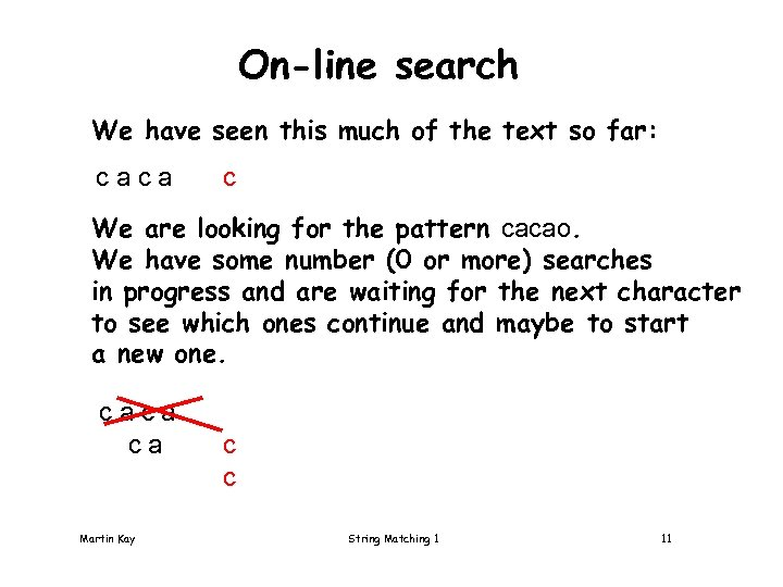 On-line search We have seen this much of the text so far: caca c