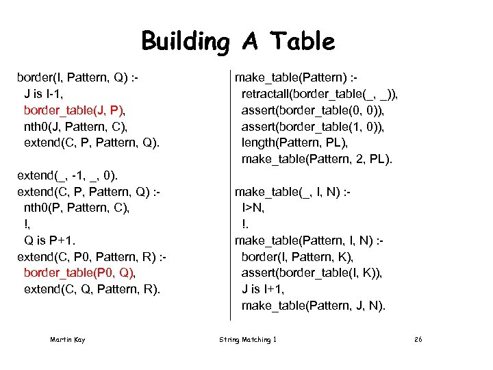 Building A Table border(I, Pattern, Q) : J is I-1, border_table(J, P), nth 0(J,