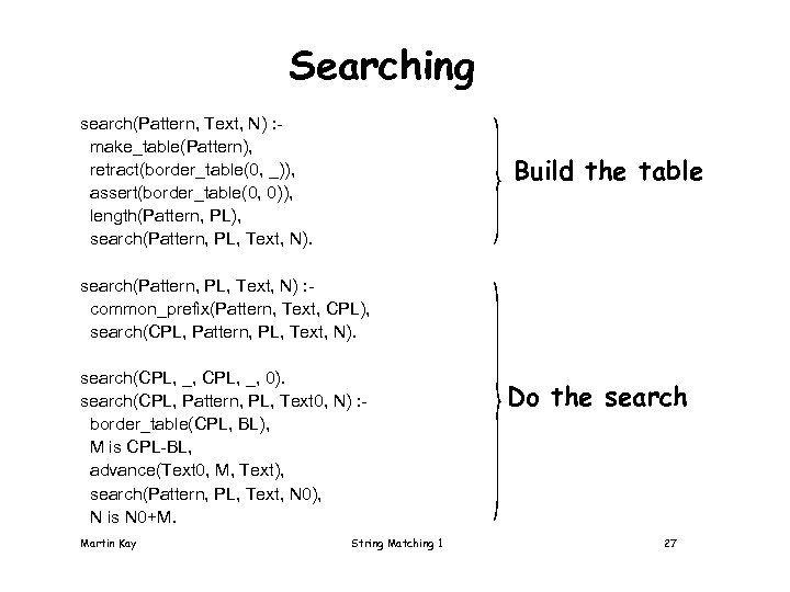 Searching search(Pattern, Text, N) : make_table(Pattern), retract(border_table(0, _)), assert(border_table(0, 0)), length(Pattern, PL), search(Pattern, PL,