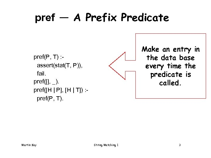 pref — A Prefix Predicate Make an entry in the data base every time