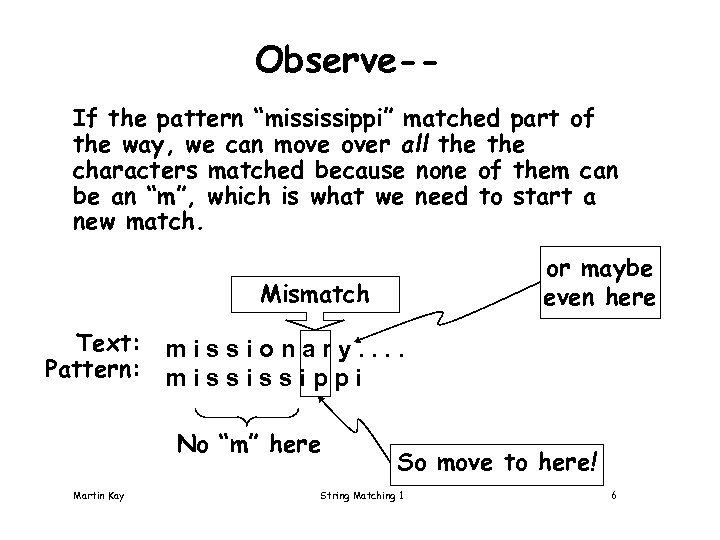 "Observe-If the pattern ""mississippi"" matched part of the way, we can move over all"