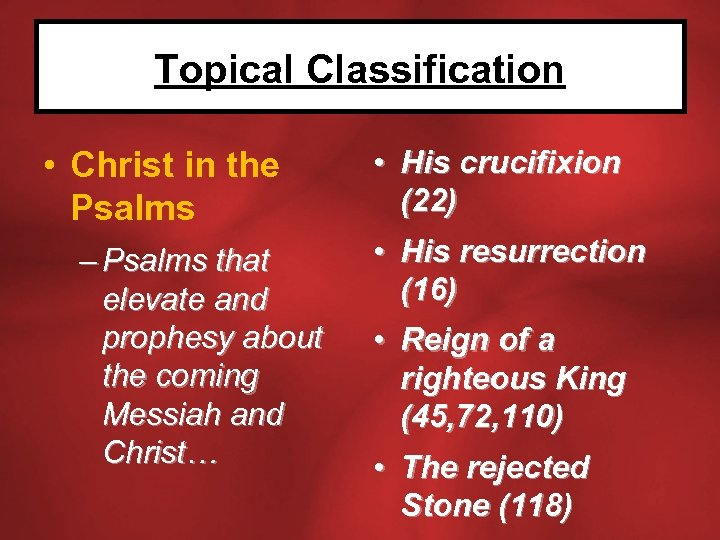 Topical Classification • Christ in the Psalms – Psalms that elevate and prophesy about