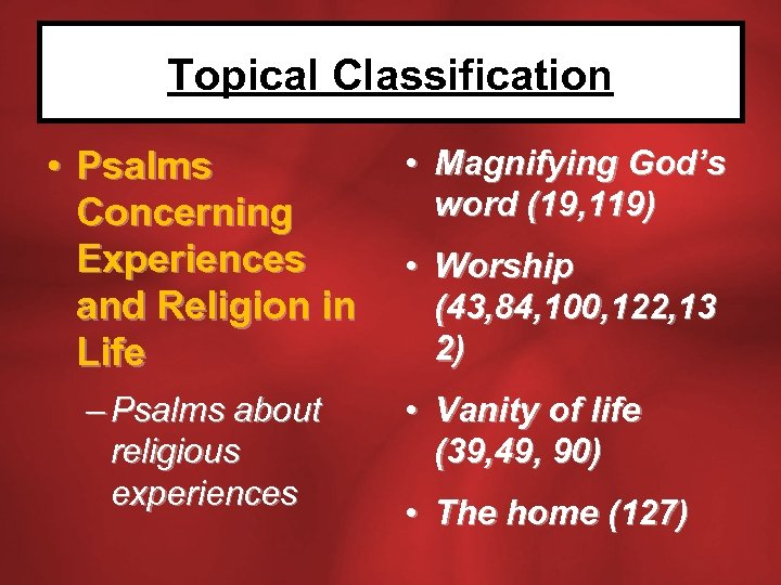 Topical Classification • Psalms Concerning Experiences and Religion in Life – Psalms about religious