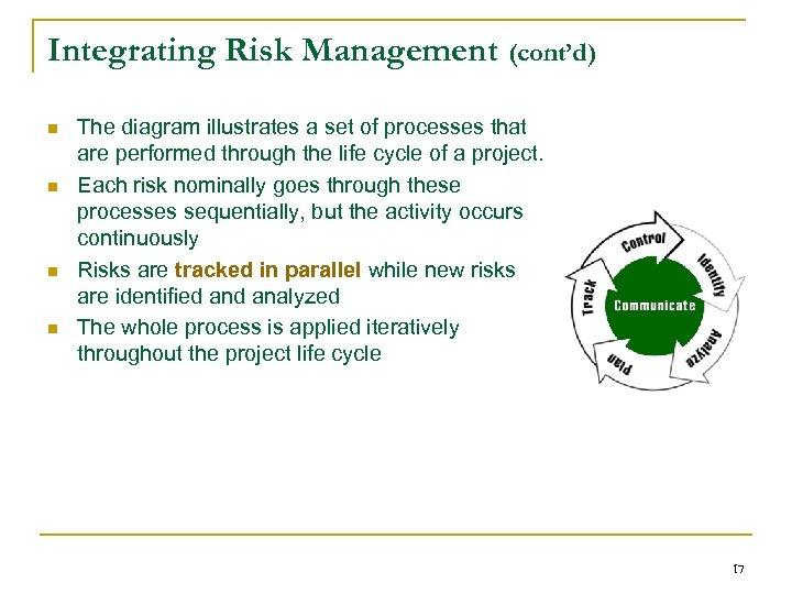 Integrating Risk Management (cont'd) n n The diagram illustrates a set of processes that