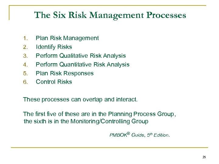 The Six Risk Management Processes 1. 2. 3. 4. 5. 6. Plan Risk Management