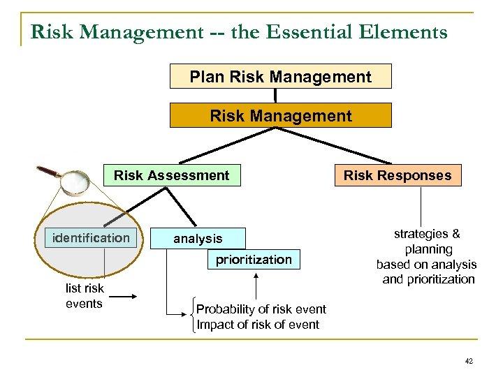 Risk Management -- the Essential Elements Plan Risk Management Risk Assessment identification analysis prioritization