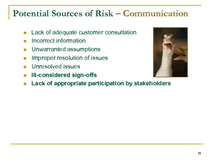 Potential Sources of Risk – Communication n n n Lack of adequate customer consultation