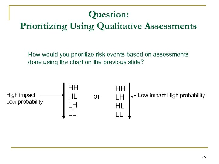 Question: Prioritizing Using Qualitative Assessments How would you prioritize risk events based on assessments