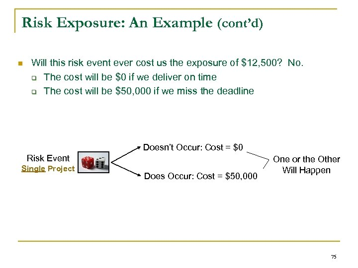Risk Exposure: An Example (cont'd) n Will this risk event ever cost us the