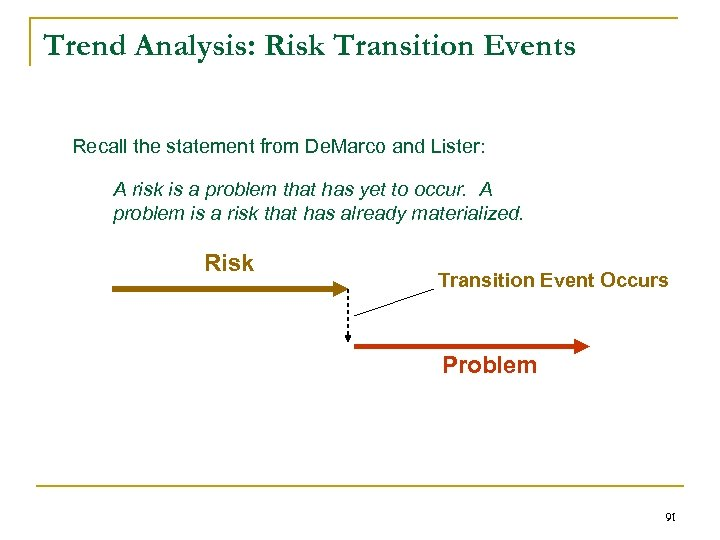 Trend Analysis: Risk Transition Events Recall the statement from De. Marco and Lister: A