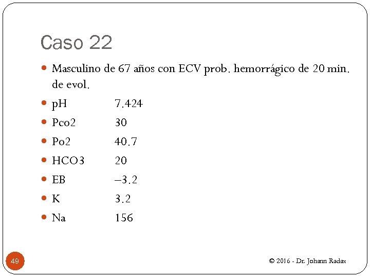 Caso 22 Masculino de 67 años con ECV prob. hemorrágico de 20 min. 49