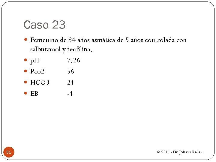 Caso 23 Femenino de 34 años asmática de 5 años controlada con 51 salbutamol