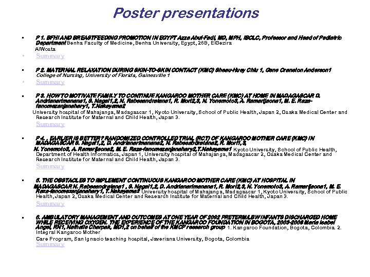 Poster presentations • P 1. BFHI AND BREASTFEEDING PROMOTION IN EGYPT Azza Abul-Fadl, MD,