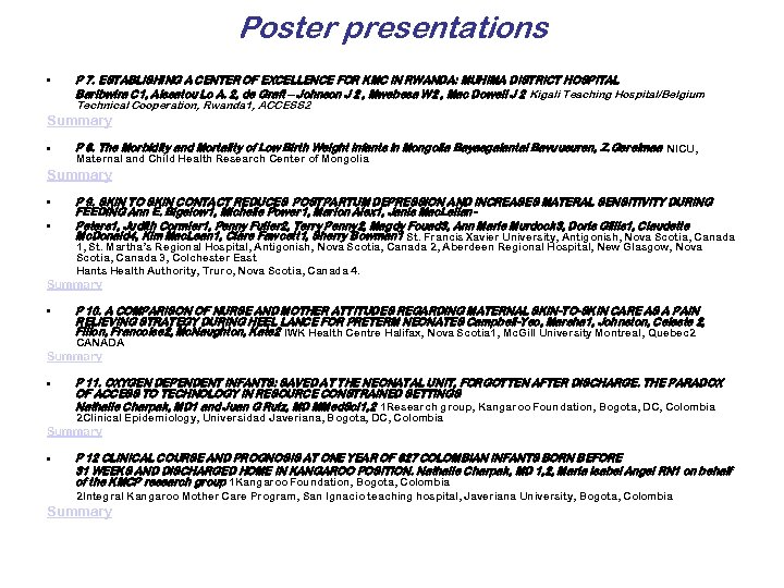 Poster presentations • P 7. ESTABLISHING A CENTER OF EXCELLENCE FOR KMC IN RWANDA: