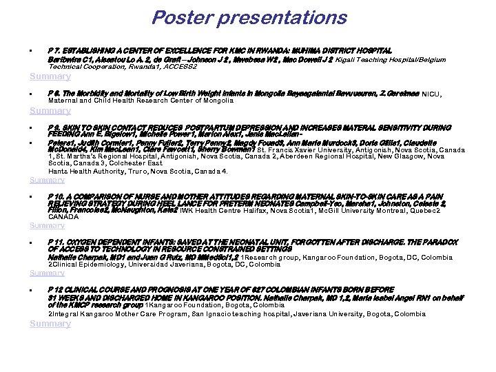 Poster presentations • P 7. ESTABLISHING A CENTER OF EXCELLENCE FOR KMC IN RWANDA: