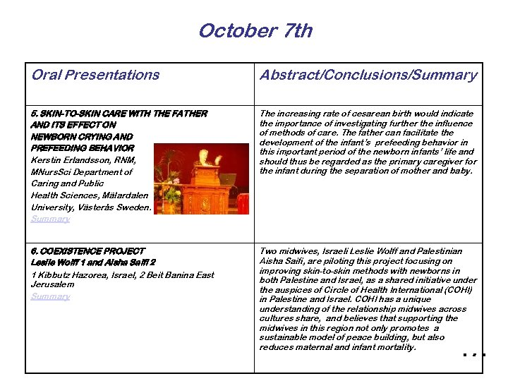 October 7 th Oral Presentations Abstract/Conclusions/Summary 5. SKIN-TO-SKIN CARE WITH THE FATHER AND ITS