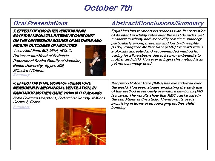 October 7 th Oral Presentations Abstract/Conclusions/Summary 7. EFFECT OF KMC INTERVENTION IN AN EGYPTIAN