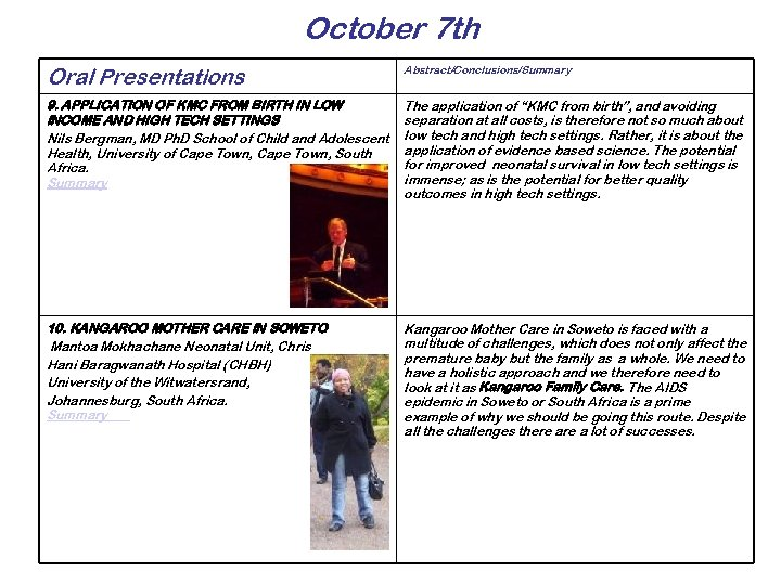 October 7 th Oral Presentations Abstract/Conclusions/Summary 9. APPLICATION OF KMC FROM BIRTH IN LOW