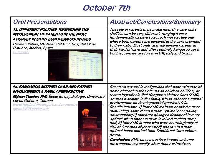 October 7 th Oral Presentations Abstract/Conclusions/Summary 13. DIFFERENT POLICIES REGARDING THE INVOLVEMENT OF PARENTS