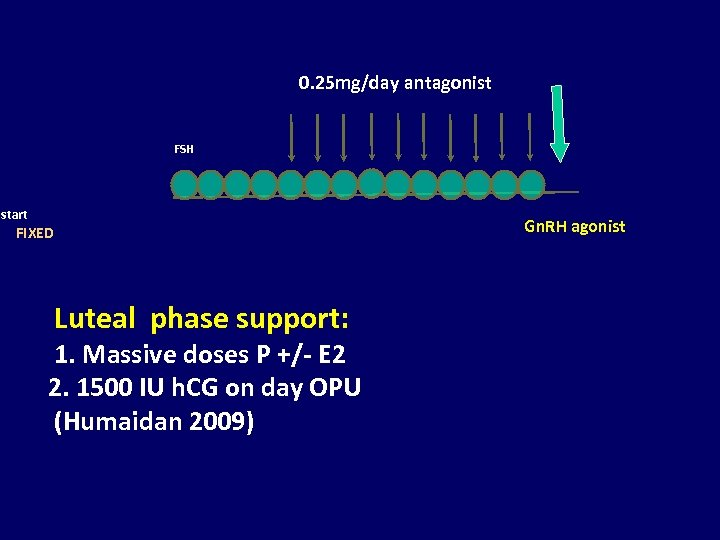 0. 25 mg/day antagonist FSH start FIXED Luteal phase support: 1. Massive doses P