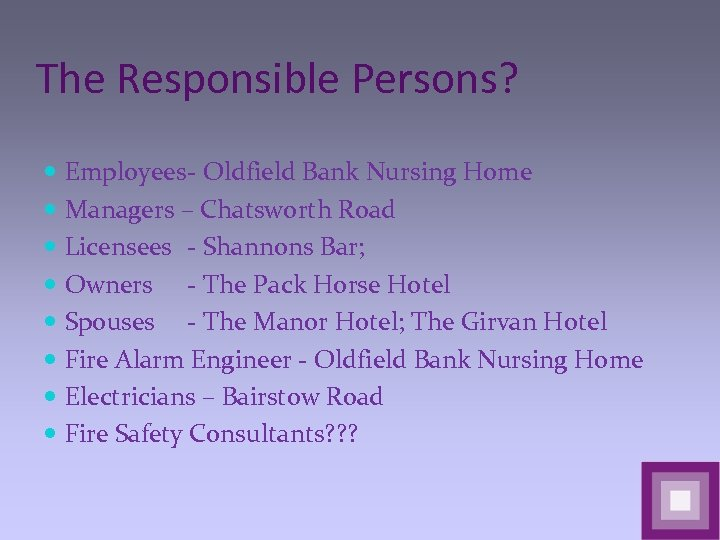 The Responsible Persons? Employees- Oldfield Bank Nursing Home Managers – Chatsworth Road Licensees -