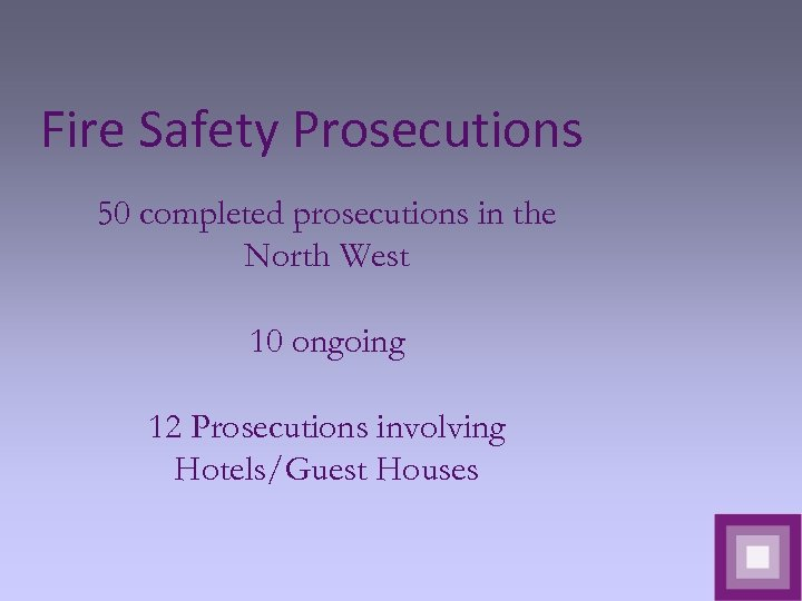 Fire Safety Prosecutions 50 completed prosecutions in the North West 10 ongoing 12 Prosecutions
