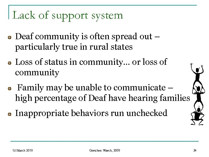 Lack of support system Deaf community is often spread out – particularly true in