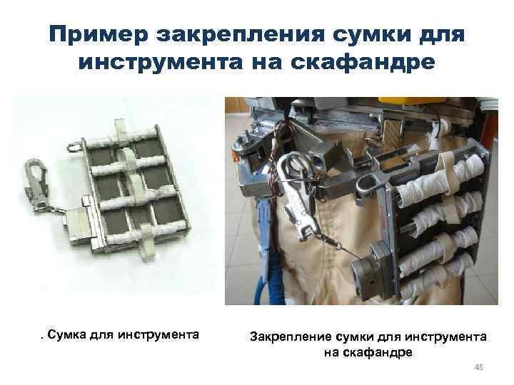 Пример закрепления сумки для инструмента на скафандре . Сумка для инструмента Закрепление сумки для