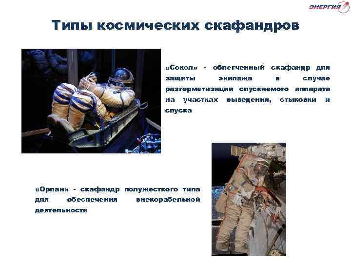 Типы космических скафандров «Сокол» - облегченный скафандр для защиты экипажа в случае разгерметизации спускаемого