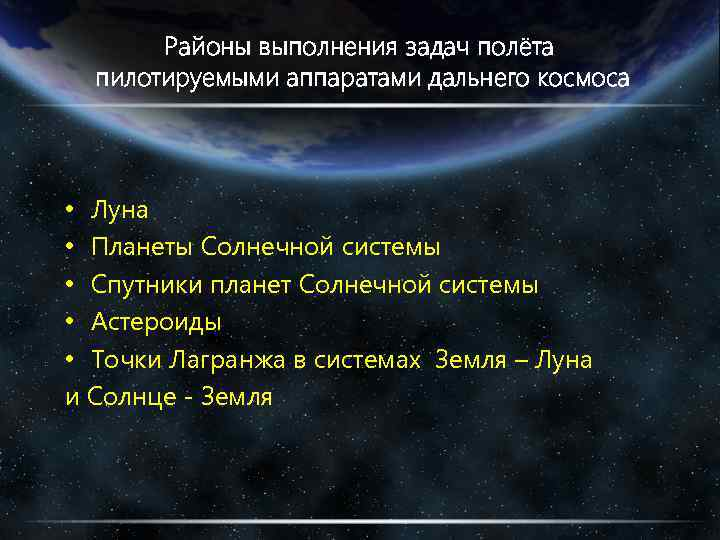 Районы выполнения задач полёта пилотируемыми аппаратами дальнего космоса • Луна • Планеты Солнечной системы